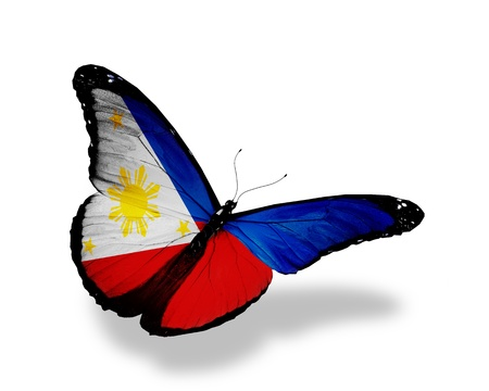 philippines flag: Philippines flag butterfly flying, isolated on white background