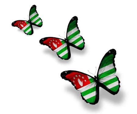abkhazia: Three Abkhazia flag butterflies, isolated on white