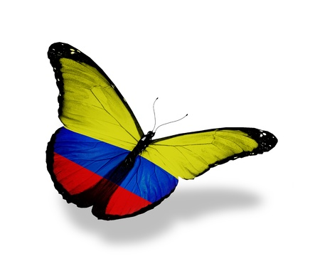 colombian flag: Colombian flag butterfly flying, isolated on white background