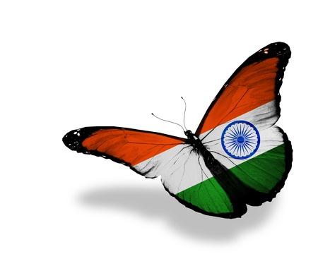 drapeau inde: Indien drapeau papillon volant, isol� sur fond blanc