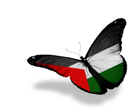 Palestinian flag butterfly flying, isolated on white background Stock Photo
