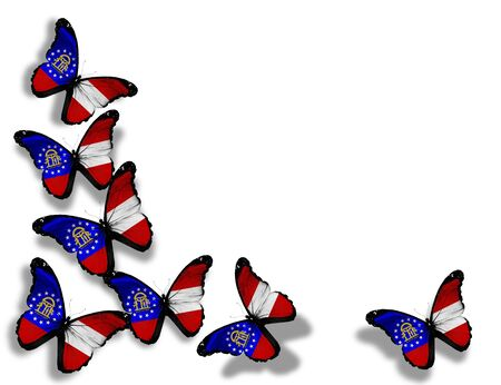 Georgia flag butterflies, isolated on white background