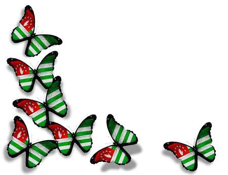 abkhazia: Abkhazia flag butterflies, isolated on white background Stock Photo