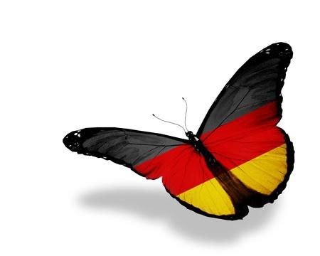 deutschland fahne: Deutsch Flagge Schmetterling fliegen, isoliert auf wei�em Hintergrund