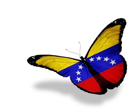 bandera de venezuela: Bandera venezolana mariposa volando, aislado en fondo blanco Foto de archivo