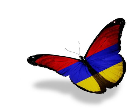 armenian: Armenian flag butterfly flying, isolated on white background