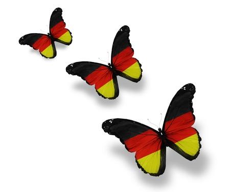 bandera alemania: Tres mariposas bandera Alemania, aislado en blanco