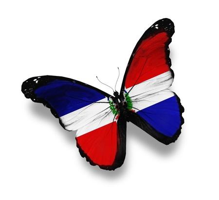 Flagge der Dominikanischen Republik Schmetterling, isoliert auf weiß
