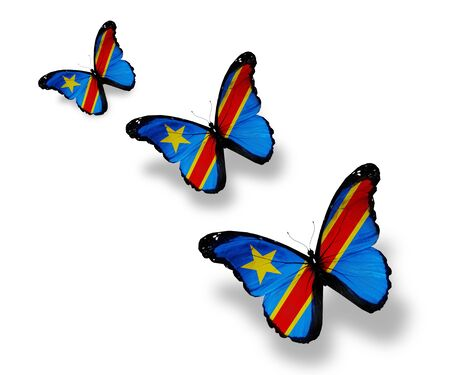 Three Democratic Republic of the Congo flag butterflies, isolated on white