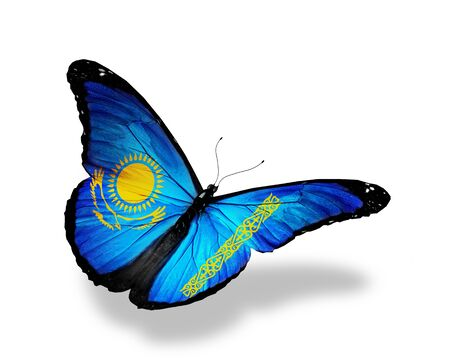 Kazakhstan flag butterfly flying, isolated on white background photo