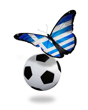 ball like: Concept - butterfly with Greek flag flying near the ball, like football team playing
