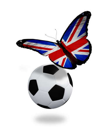 ball like: Concept - butterfly with  English flag flying near the ball, like football team playing