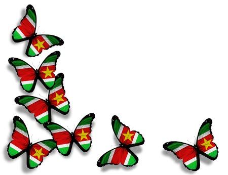 suriname: Republiek Suriname vlag vlinders, geïsoleerd op een witte achtergrond
