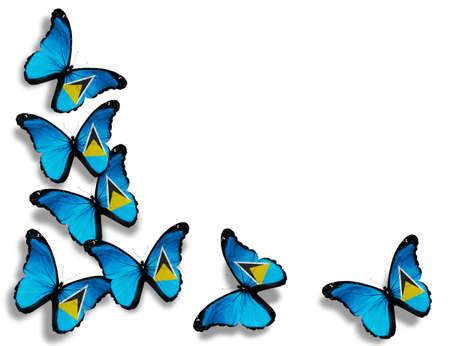 saint lucia: Saint Lucia flag butterflies, isolated on white background Stock Photo