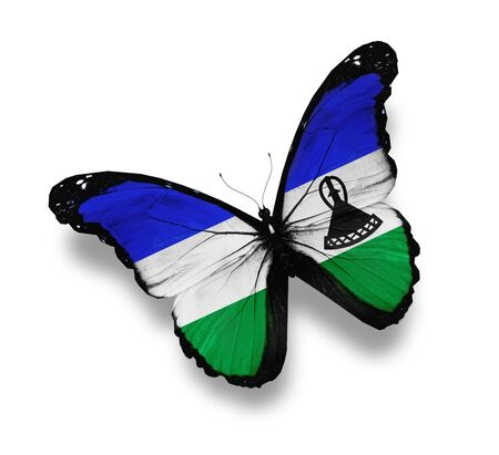Kingdom of Lesotho flag butterfly, isolated on white photo