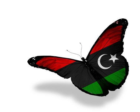 libyan: Libyan flag butterfly flying, isolated on white background Stock Photo