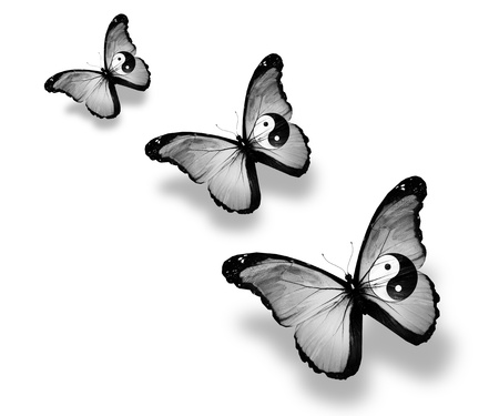 taoisme: Drie dao vlag vlinders, geïsoleerd op wit