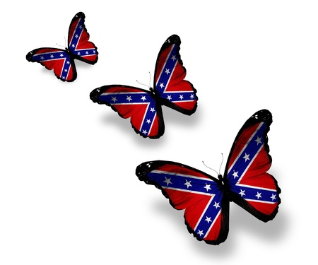 confederate: Three Confederate Rebel flag butterflies, isolated on white