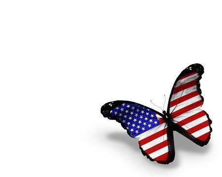 naciones unidas: La bandera americana mariposa, aisladas sobre fondo blanco Foto de archivo