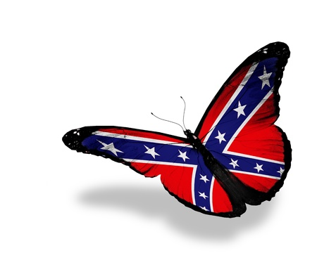 rebel flag: Confederate Rebel flag butterfly flying, isolated on white background