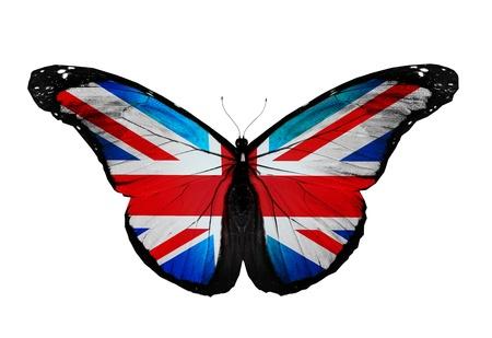 drapeau anglais: Anglais drapeau papillon volant, isol� sur blanc Banque d'images