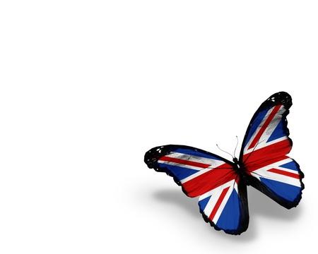 gewerkschaft: Englisch Flagge Schmetterling, isoliert auf wei�em Hintergrund