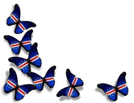 cape verde flag: Republic of Cape Verde flag butterflies, isolated on white background