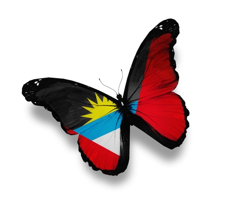 antigua flag: Antigua and Barbuda flag butterfly, isolated on white Stock Photo