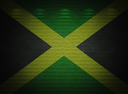 Jamaican flag wall, abstract grunge background photo