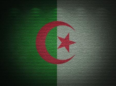 Algierski: Flaga Algierii ściana, abstrakcyjne tło grunge