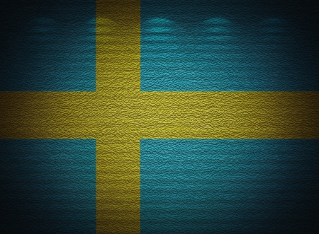 Swedish flag wall, abstract grunge background photo