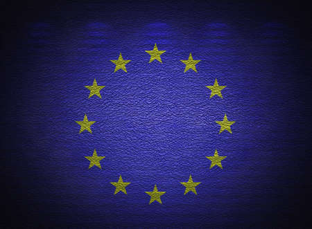 European Union flag wall, abstract grunge background photo