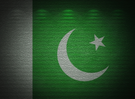 Pakistani flag wall, abstract grunge background photo