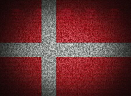 Danish flag wall, abstract grunge background photo