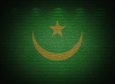 Mauritanian flag wall, abstract grunge background photo
