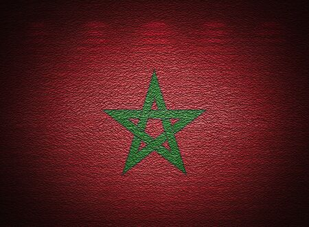 Moroccan flag wall, abstract grunge background photo