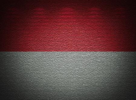 monegasque: Monegasque flag wall, abstract grunge background Stock Photo