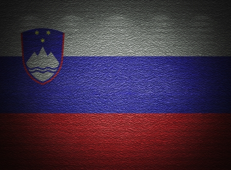 Slovenian flag wall, abstract grunge background photo