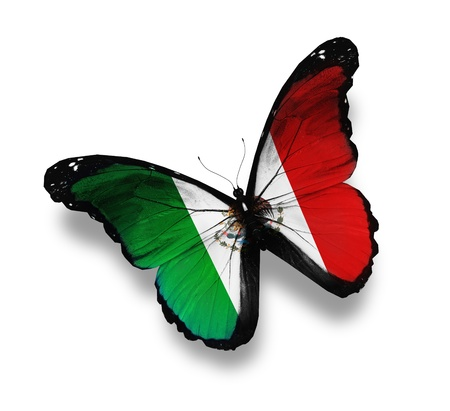 mexico background: United Mexican States flag butterfly flying, isolated on white background