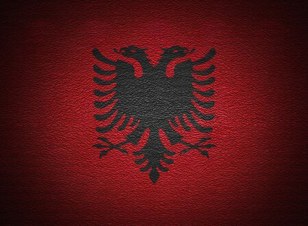 albanian: Albanian flag wall, abstract grunge background