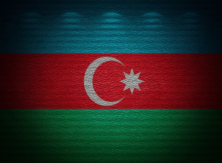 Azerbaijani flag wall, abstract grunge background photo