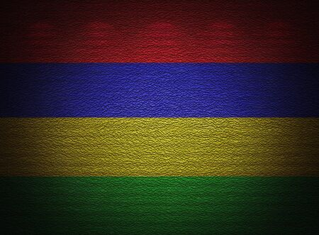 Mauritius flag wall, abstract grunge background photo
