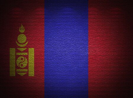 Mongolian flag wall, abstract grunge background photo
