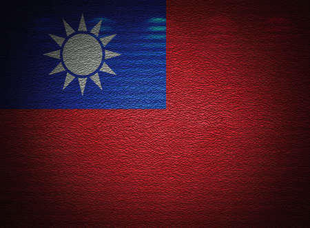 Taiwanese flag wall, abstract grunge background photo