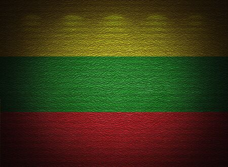 Lithuanian flag wall, abstract grunge background photo