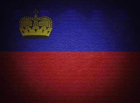 Liechtenstein flag wall, abstract grunge background photo