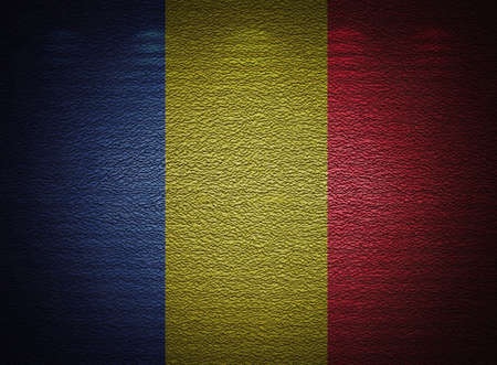 Romanian flag wall, abstract grunge background photo
