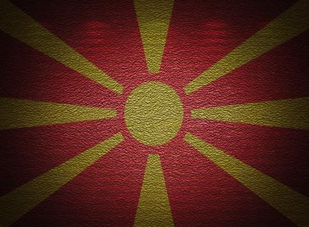 Macedonian flag wall, abstract grunge background photo