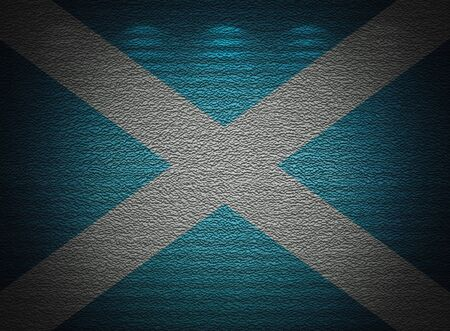 Scottish flag wall, abstract grunge background photo