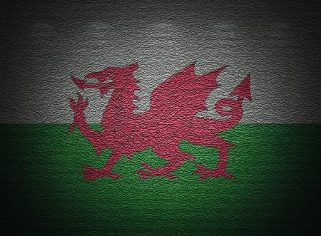 welsh flag: Bandiera gallese muro, sfondo astratto grunge